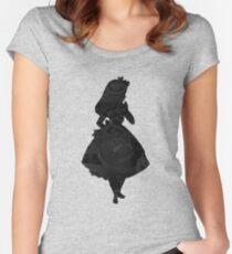 Alice im Wunderland, schwarze Bild-Silhouette Tailliertes Rundhals-Shirt