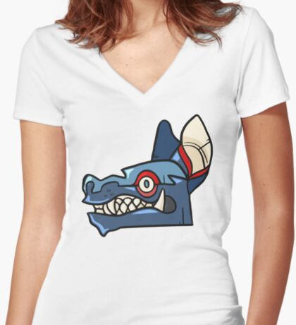 Tribal Wolf Mask Fitted V-Neck T-Shirt