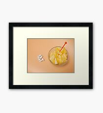 handful pilule  and cup filled with pineapple slices  Framed Print