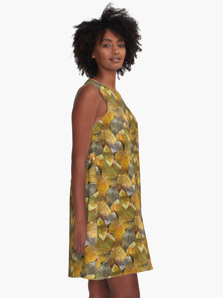 Alternate view of Golden Leaves Mosaic A-Line Dress