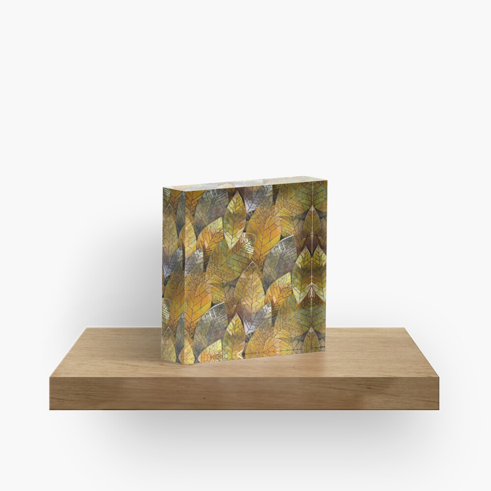 Golden Leaves Mosaic Acrylic Block
