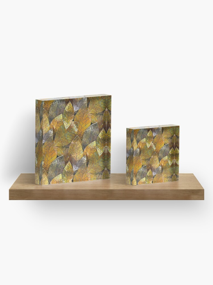 Alternate view of Golden Leaves Mosaic Acrylic Block
