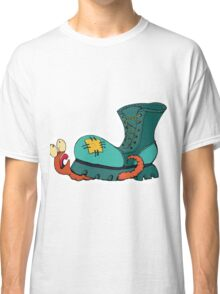 Cute  Illustration. A Worm Crushed By A Shoe. Classic T-Shirt