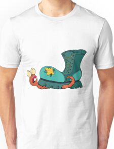 Cute  Illustration. A Worm Crushed By A Shoe. Unisex T-Shirt