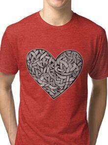 heart tattoo graphic illustration interlacing Tri-blend T-Shirt