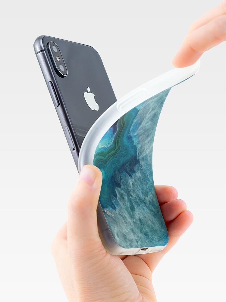 Vista alternativa de Funda y vinilo para iPhone Teal Druzy Agate Quartz