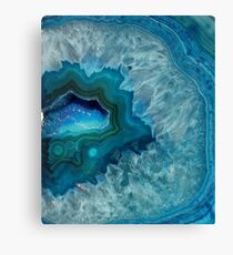 Teal Druzy Agate Quartz Canvas Print