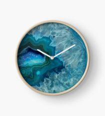 Teal Druzy Agate Quartz Clock