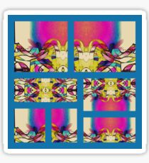 Feathers of Ribbon Sweeping Across a Pink Sunrise Abstract Sticker