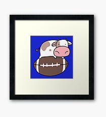 Tiny Cow and Football Framed Print