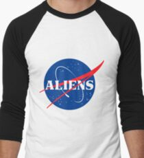 Nasa Aliens Parody Logo Men's Baseball ¾ T-Shirt