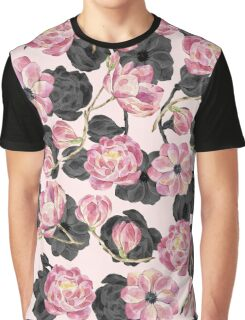Girly Blush Pink and Black Watercolor Flowers Graphic T-Shirt