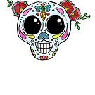 Sugar Skull with flowers by Casey Virata