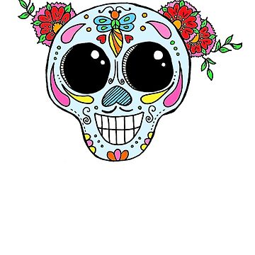 Sugar Skull with flowers by LuckiiArts
