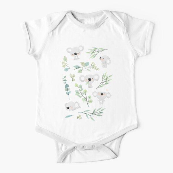 Koala and Eucalyptus Pattern Short Sleeve Baby One-Piece