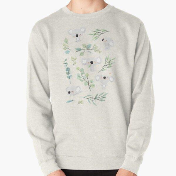 Koala and Eucalyptus Pattern Pullover Sweatshirt