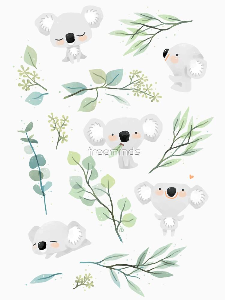 Patrón de koala y eucalipto de freeminds