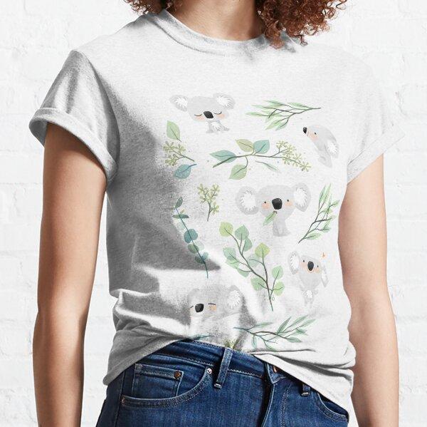Patrón de koala y eucalipto Camiseta clásica