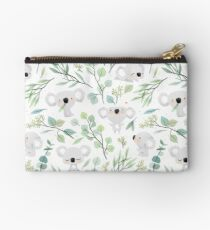 Koala and Eucalyptus Pattern Zipper Pouch