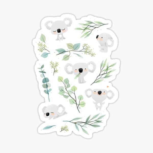Koala and Eucalyptus Pattern Sticker