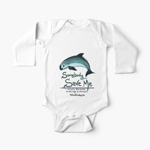 Save Me - Vaquita Porpoise, art © 2015 ~ Long Sleeve Baby One-Piece
