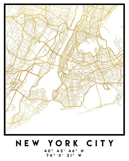 NEW YORK STADT NEW YORK STADT STRASSENKARTE ART von deificusArt
