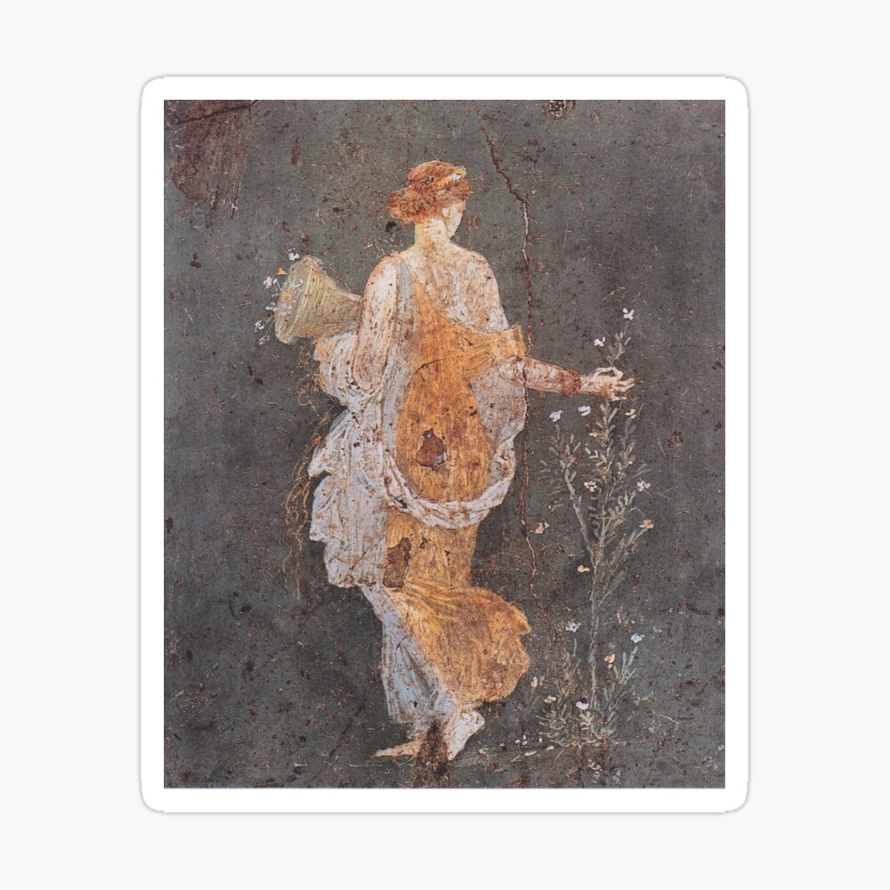 WOMAN WITH FLOWERS /& FURS ROMAN MOTIF CLASSICAL PAINTING ART REAL CANVAS PRINT