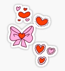 Valentine Hearts and Bows Sticker