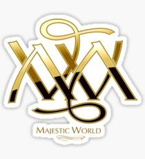 Majestic World Logo GOLD auf SCHWARZBLAU von M.A.MARTIN Sticker