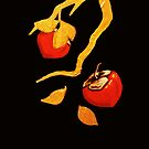 Persimmon with gold branch by Lydia Quinones