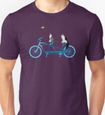Cats Riding Tandem Bike with Bird T-Shirt