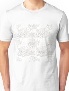 Hand drawn delicate decorative vintage seamless pattern with blossom flowers. Vector illustration Unisex T-Shirt