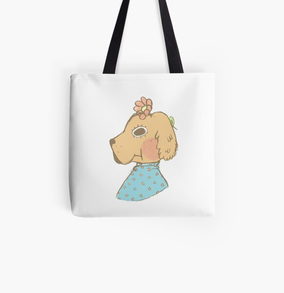 Cute Pup, with A Flower in her Ear All Over Print Tote Bag