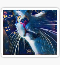 Night Prowler, Abstract cat after dark. Sticker