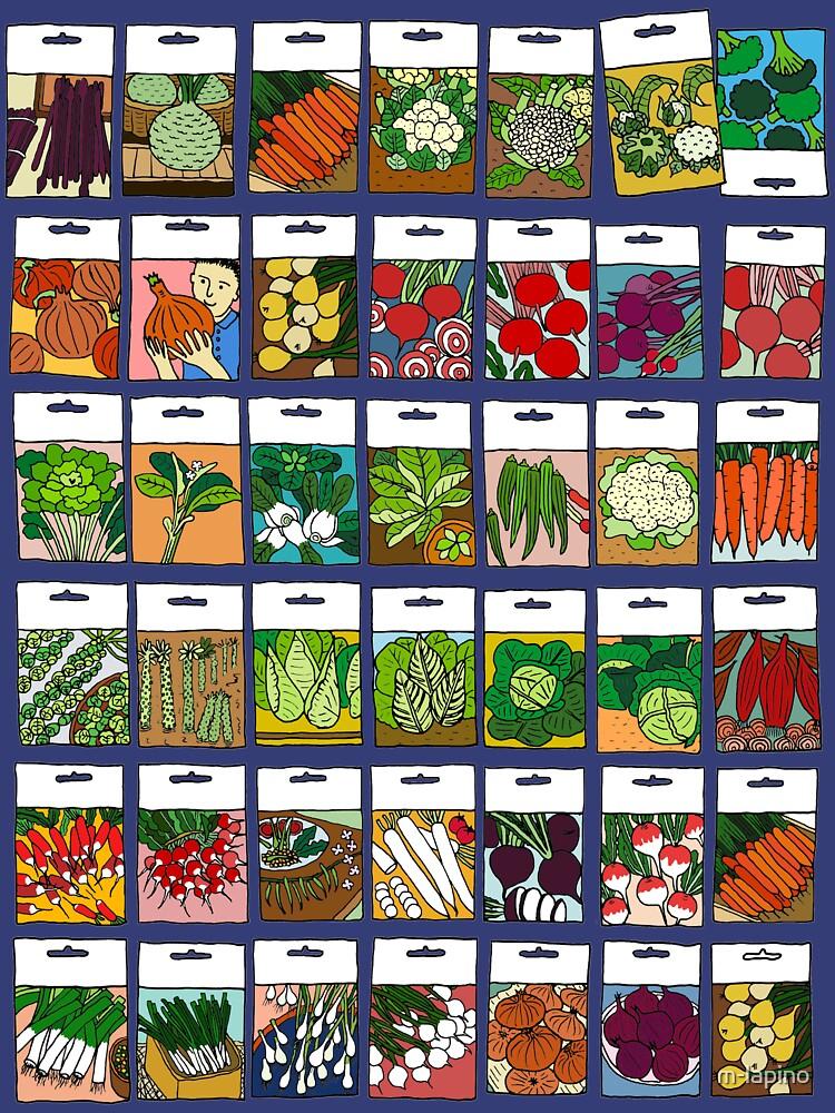 Patrón de semillas de vegetales de m-lapino
