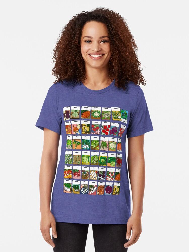 Alternate view of Vegetable seeds pattern Tri-blend T-Shirt