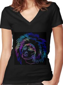 NEON STATE Women's Fitted V-Neck T-Shirt