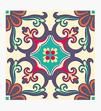 Seamless Colourful Ornament Tiles Photographic Print