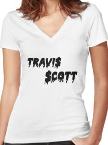 Travis Scott Women's Fitted V-Neck T-Shirt