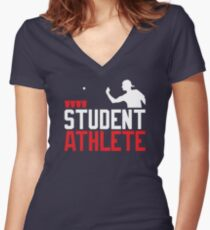Beer Pong Student Athlete Women's Fitted V-Neck T-Shirt