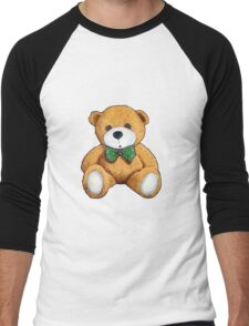 Cute Teddy Bear, Original Painting, Polka Dotted Bow Tie Men's Baseball ¾ T-Shirt
