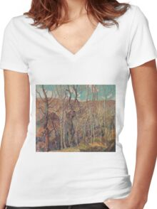 Franklin Carmichael - Silvery Tangle 1921 Women's Fitted V-Neck T-Shirt