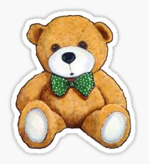 Cute Teddy Bear, Original Painting, Polka Dotted Bow Tie Sticker