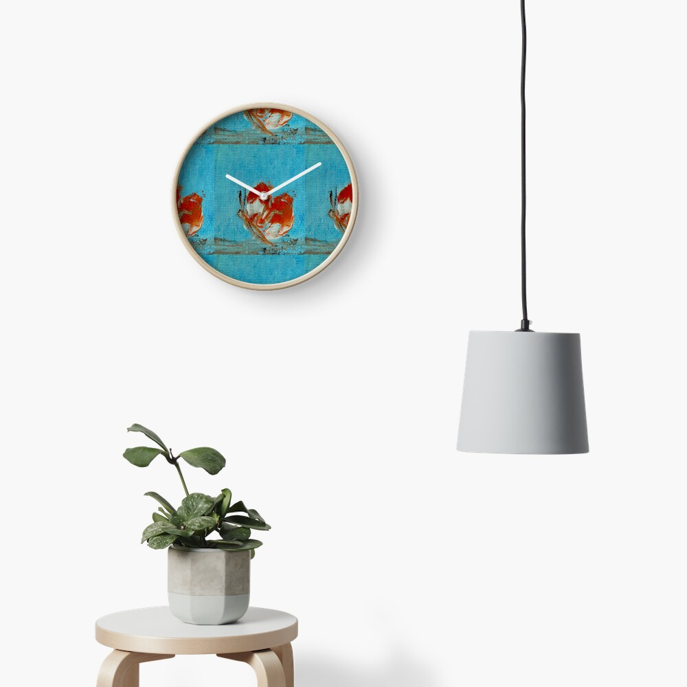 Orange butterfly Clock