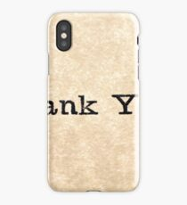 "A close up image of the words ""Thank You"" from a typewriter iPhone Case/Skin"