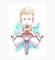 Cyborg Guy with Rose (blue) Photographic Print