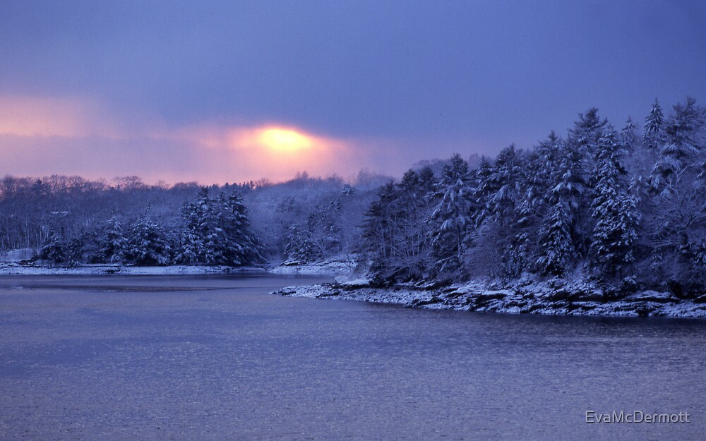 Winter River Sunset Maine by EvaMcDermott