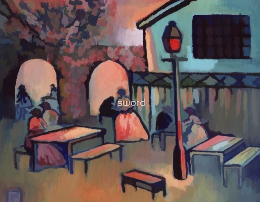 Tea garden at dusk (from my original acrylic painting) digitally enhanced) by sword