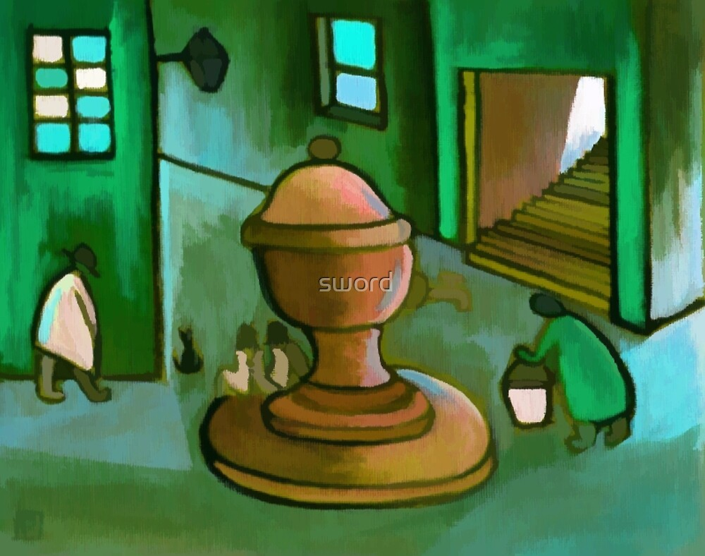 Fetching the water ( from my original acrylic painting digitally enhanced) by sword