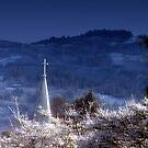 snowy church steeple by Dawna Morton